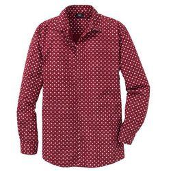 Koszula z długim rękawem, w delikatny deseń Regular Fit bonprix ciemnoczerwony