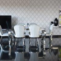Stoły kuchenne, Stół glamour Paris - stal szlachetna satynowana blat kamienny nowoczesny