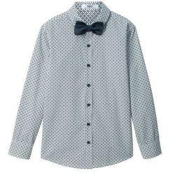 Koszula z muchą (2 części) Slim Fit bonprix biało-niebieski z nadrukiem
