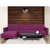 Narożniki, Sofa prawostronna fioletowa tapicerowana rozkładana ABERDEEN