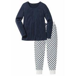Piżama, bawełna organiczna bonprix ciemnoniebieski - naturalny melanż z nadrukiem