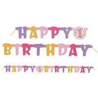 Balony, Baner na roczek 1st Birthday Baloniki Pink - 120 cm - 1 szt.