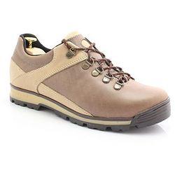 KENT 290 BRĄZOWE - Trekkingowe buty męskie ze skóry - Brązowy ||Beżowy Wyprzedaż -50 zł (-20%)