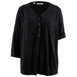 Bluzka tunikowa z wiskozy, rękawy 3/4 bonprix czarny
