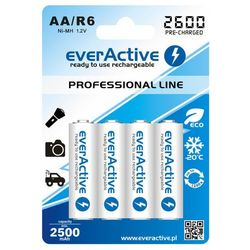 "4x everActive R6/AA Ni-MH 2600 mAh ready to use ""Professional line"""
