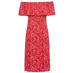 """Sukienka letnia z dżerseju z dekoltem """"carmen"""" bonprix czerwono-biały w kwiaty"""