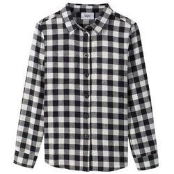 Koszula w kratę bonprix biel wełny - czarny w kratę