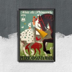 Plakat w stylu vintage Plakat w stylu vintage Feria Puerto De Santa Maria Hiszpania