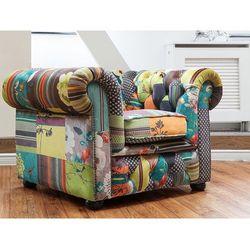 Fotel patchwork żółty - wypoczynkowy - do salonu - CHESTERFIELD