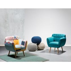 Fotel kolorowy - fotel wypoczynkowy - do salonu - tapicerowany - MELBY