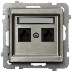 OSPEL SONATA STAL INOX GPT-2RMN/M/37 Gniazdo telefoniczne podwójne niezależne STAL INOX
