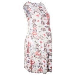 Sukienka ciążowa shirtowa bonprix jasnoróżowo-szary z nadrukiem
