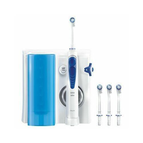 Irygatory do zębów, Kolor Biało-niebieski Załączone wyposażenie Dysze Zamykany pojemnik na wymienne dysze Funkcje Regulacja strumienia wody 5 stopni Rodzaj strumienia Z mikrobąbelkami Spiralny Prosty Techniczne Inne Ciśnienie wody irygatora: do 3.8 bar