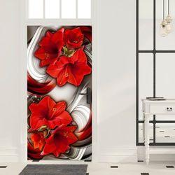 Fototapeta na drzwi - Tapeta na drzwi - Abstrakcja i czerwone kwiaty bogata chata
