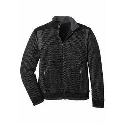 Sweter rozpinany w strukturalny wzór bonprix Sweter rozpinany str cz-d.szar