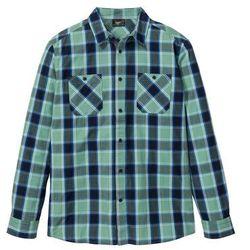Koszula z długim rękawem w kratę bonprix zielony szałwiowy - ciemnoniebieski w kratę