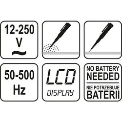 PRÓBNIK NAPIĘCIA 12-250V LCD