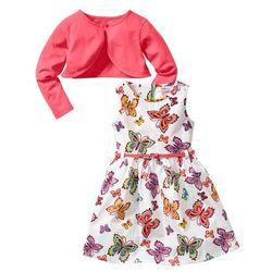 Sukienka + pasek + bolerko (3 części) bonprix biały w motyle