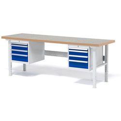 Stół roboczy Solid, zestaw z 8 szufladami, 500 kg, 2000x800 mm, winyl