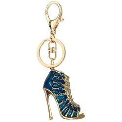 Niebiesko-złoty breloczek botek do kluczy lub torebki - niebieski ||złoty