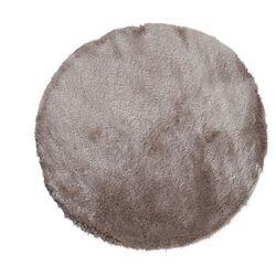 Okrągły dywan shaggy DOLCE szarobrązowy z beżowym połyskiem - poliester - śr. 120 cm