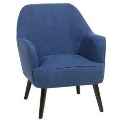 Fotel ciemnoniebieski - wypoczynkowy - do salonu - tapicerowany - LOKEN