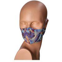 Maseczki ochronne, Maseczka na twarz wielorazowa kolorowa mozaika - niebieski ||wielokolorowy