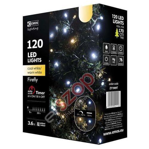 Ozdoby świąteczne, Lampki choinkowe 120 LED świetliki 12m IP44 CW/WW, timer ZY1909T