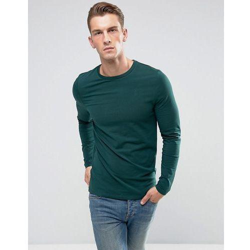 Koszulki z długim rękawem, ASOS Muscle Fit Long Sleeve T-Shirt With Crew Neck - Green