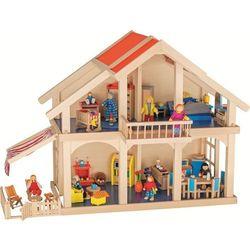 Dwupiętrowy domek dla lalek z werandą i balkonem