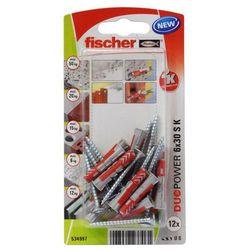 Kołek uniwersalny Fischer Duopower 6 x 30 z wkrętem 12 szt.
