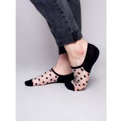 Skarpety stopki damskie transparentne siateczka w serduszka czarne 36-41