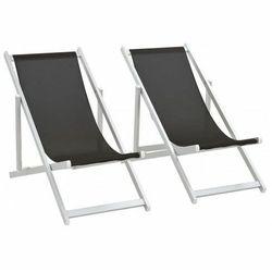 Składane leżaki plażowe Strand - czarne