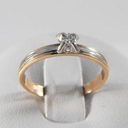 Złoty pierścionek z diamentem P1468