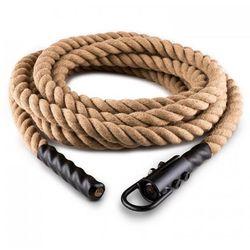 Capital Sports Lina Power Rope z hakiem 15 m 3,8 cm Lina konopna do ćwiczeń siłowych Zamocowanie sufitowe