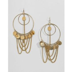 ASOS DESIGN Statement Draping Chain And Coin Hoop Earrings - Gold
