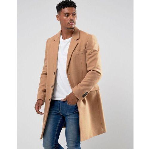 Płaszcze męskie, ASOS Wool Mix Overcoat In Camel - Tan