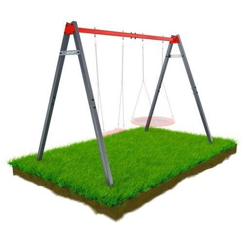 Huśtawki ogrodowe dla dzieci, Huśtawka Ogrodowa STELAŻ podwójny mieszczący Bocianie gniazdo i huśtawkę KSOZ0015/2 K-SPORT
