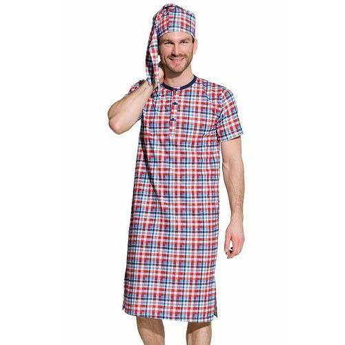 Koszule męskie, Męska koszula nocna Filip w niebiesko-czerwoną kratę