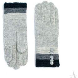 Dzianinowe rękawiczki damskie z guziczkami jasnoszare - czarny ||szary