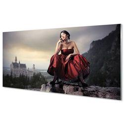 Obrazy na szkle Kobieta góry suknia