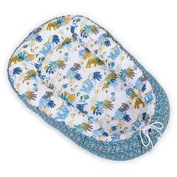 MAMO-TATO Kokon otulacz niemowlęcy DUŻY Sawanna niebieska / listki niebieskie