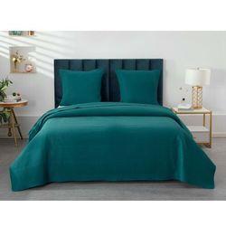 Pikowana narzuta KILLY 230 × 250 cm i 2 poszewki na poduszki 65 × 65 cm – poliester – kolor morski