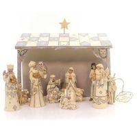 Ozdoby świąteczne, Biała Szopka styl vintage White Woodland Nativity 4053690 Jim Shore figurka ozdoba świąteczna