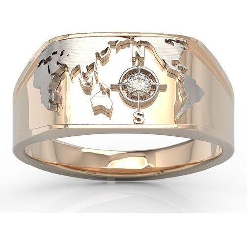 Sygnety, Sygnet morski z różowego i białego złota z brylantem sj-1406pb