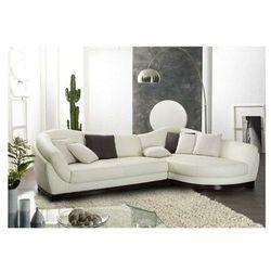Sofa narożna ze skóry bawolej, 5-osobowa, CAPRI II - Kość słoniowa - Narożnik prawostronny