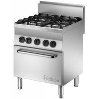 Piece i płyty grzejne gastronomiczne, Bartscher Kuchnia gazowa 4 palnikowa z piekarnikiem el. GN 1/1   18000W - kod Product ID