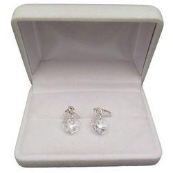 Kolczyki srebrne z przeźroczystymi kryształami w kształcie serca o długości 3 cm SKK16