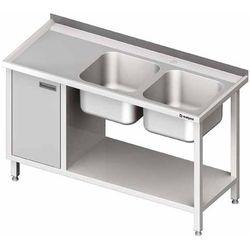 Stół ze zlewem dwukomorowym z prawej strony z szafką i półką 1700x700x850 mm | STALGAST, 981057170