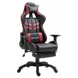 Ciemnoczerwony fotel dla gracza z podnóżkiem - Triston
